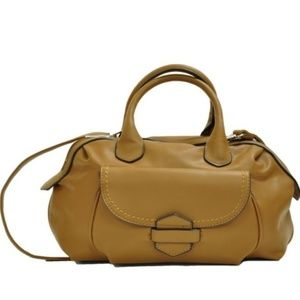 Loop & Tuck Soft Cognac Brown Satchel Purse Bag